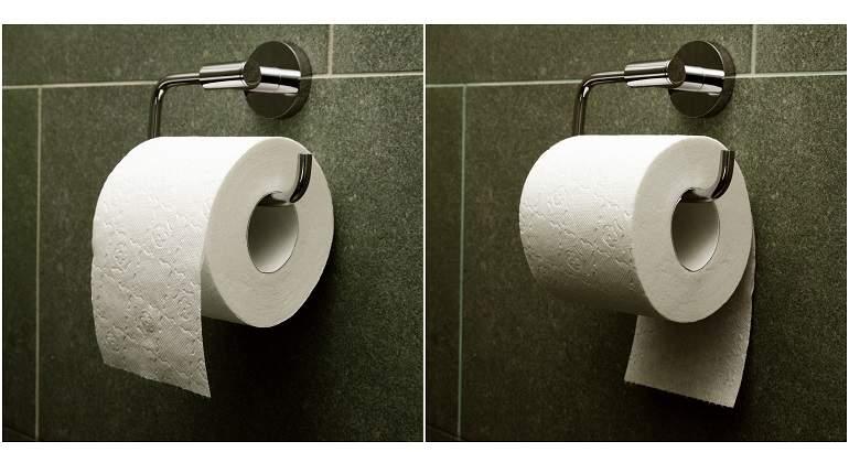 posición papel higiénico